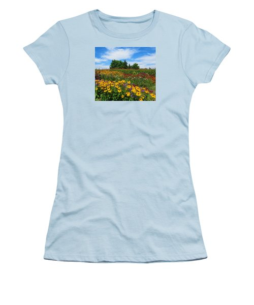Women's T-Shirt (Junior Cut) featuring the photograph Summer Flowers In Pa by Jeanette Oberholtzer