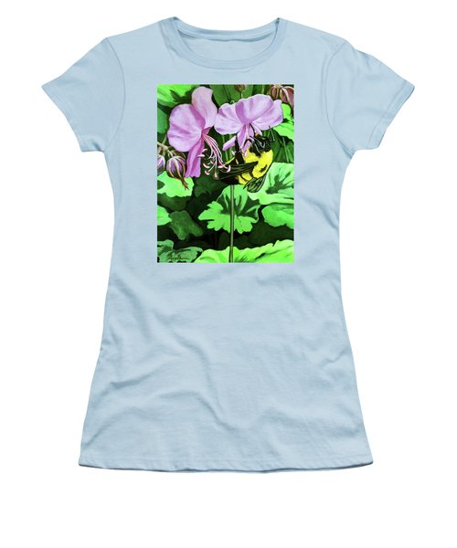 Women's T-Shirt (Junior Cut) featuring the painting Summer Garden Bumblebee And Flowers Nature Painting by Linda Apple