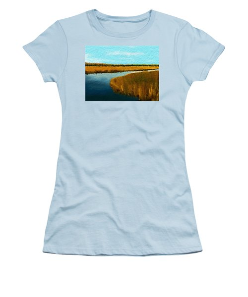 Women's T-Shirt (Junior Cut) featuring the digital art Summer Marsh South Carolina Lowcountry by Anthony Fishburne