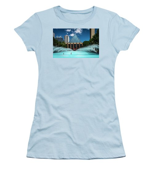 Women's T-Shirt (Junior Cut) featuring the photograph Summer Splash Downtown Edmonton by Darcy Michaelchuk