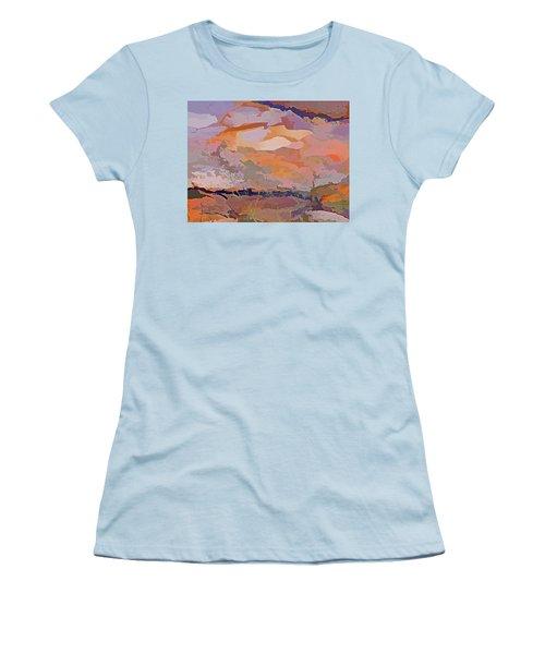 Women's T-Shirt (Athletic Fit) featuring the mixed media Sun Breaks Through by Lynda Lehmann