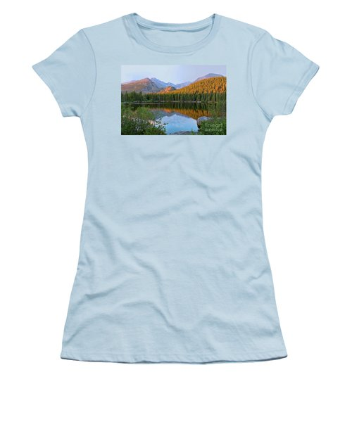 Sunrise On Bear Lake Rocky Mtns Women's T-Shirt (Junior Cut) by Teri Brown