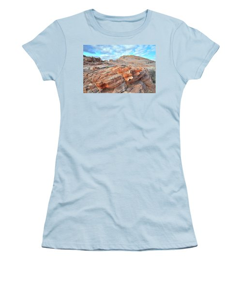Sunrise On Sandstone In Valley Of Fire Women's T-Shirt (Junior Cut) by Ray Mathis