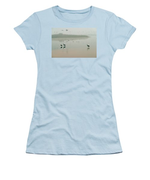 Women's T-Shirt (Junior Cut) featuring the photograph Sunrise Over The Hula Valley Israel 2 by Dubi Roman