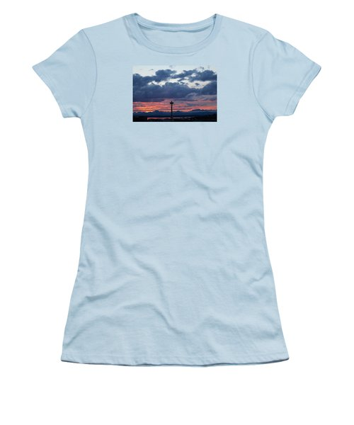 Sunset Red Clouds And Space Needle Women's T-Shirt (Junior Cut) by Suzanne Lorenz