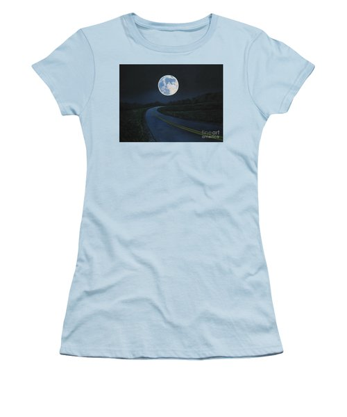 Super Moon At The End Of The Road Women's T-Shirt (Athletic Fit)