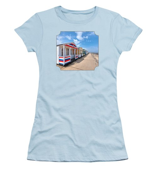 Surf's Up - Colorful Beach Huts - Square Women's T-Shirt (Athletic Fit)