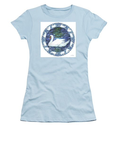 Swan With Knotted Border Women's T-Shirt (Athletic Fit)