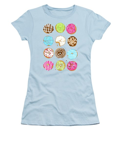 Sweet Donuts Women's T-Shirt (Junior Cut) by Evgenia Chuvardina