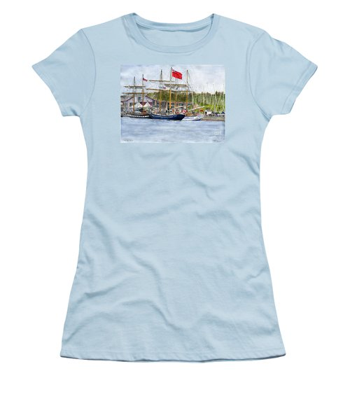 Women's T-Shirt (Junior Cut) featuring the painting Tall Ships Festival by Melly Terpening