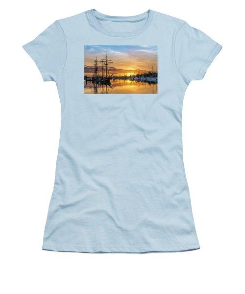 Tall Ships Sunset 1 Women's T-Shirt (Junior Cut) by Greg Nyquist