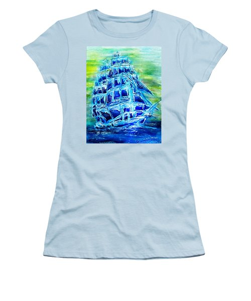 Tallship Alcohol Inks Women's T-Shirt (Athletic Fit)