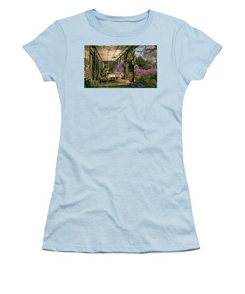 Women's T-Shirt (Junior Cut) featuring the digital art Tea Garden by John Selmer Sr