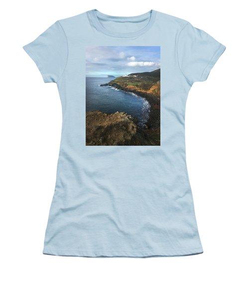 Terceira Island Coast With Ilheus De Cabras And Ponta Das Contendas Lighthouse  Women's T-Shirt (Junior Cut) by Kelly Hazel