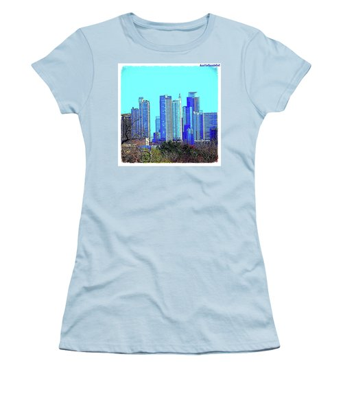 The #austin #skyline On A Sunny, Cold Women's T-Shirt (Athletic Fit)