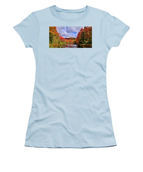 Women's T-Shirt (Athletic Fit) featuring the photograph The Colors Of Fall On The Moose River by David Patterson