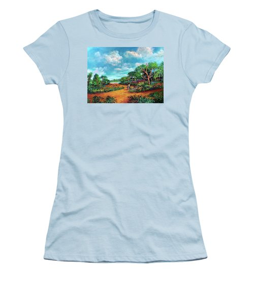 Women's T-Shirt (Junior Cut) featuring the painting The Cycle Of Life by Randol Burns