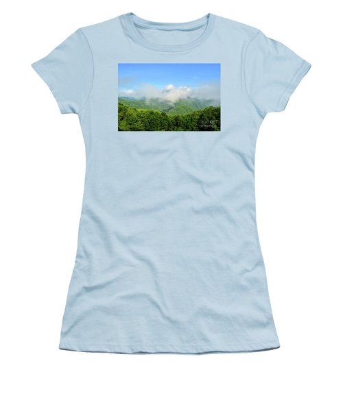 Women's T-Shirt (Athletic Fit) featuring the photograph The Fog Rises Over The Bluestone Gorge - Pipestem State Park by Kerri Farley