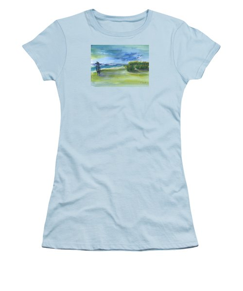 Women's T-Shirt (Junior Cut) featuring the mixed media The Gray Man Visits Pawleys Island Sc by Frank Bright
