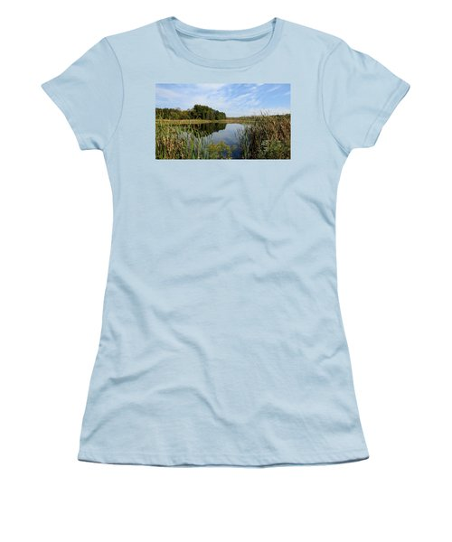 Women's T-Shirt (Junior Cut) featuring the photograph The Lake At Cadiz Springs by Kimberly Mackowski