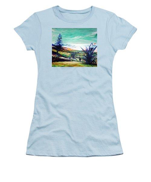 The Lawn Pandanus Women's T-Shirt (Junior Cut) by Winsome Gunning