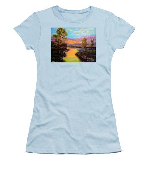 The Liquid Fire Of A Painted Golden Sunset Women's T-Shirt (Junior Cut) by Kimberlee Baxter