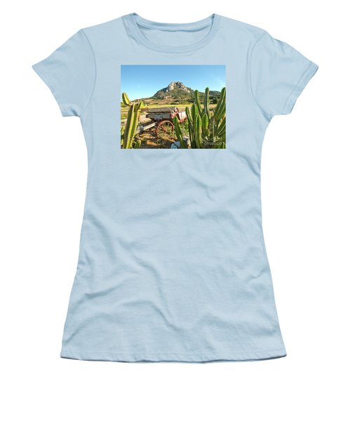 The Old Wagon And Cactus Patch In Front Of One Of The Seven Sisters In San Luis Obispo California Women's T-Shirt (Athletic Fit)