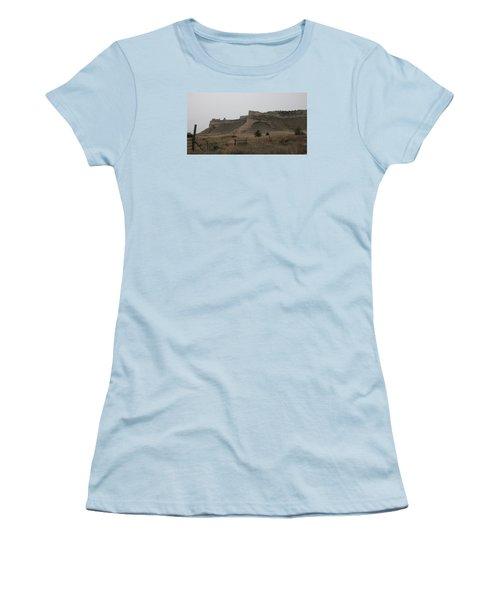 The Oregon Trail Scotts Bluff Nebraska Women's T-Shirt (Junior Cut) by Christopher Kirby