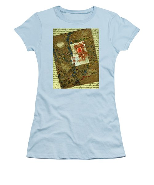 Women's T-Shirt (Junior Cut) featuring the mixed media The Package by P J Lewis