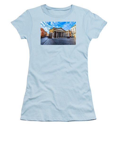 Women's T-Shirt (Junior Cut) featuring the painting The Pantheon Rome by David Dehner