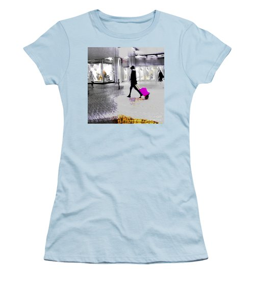 Women's T-Shirt (Athletic Fit) featuring the photograph The Pink Bag by LemonArt Photography