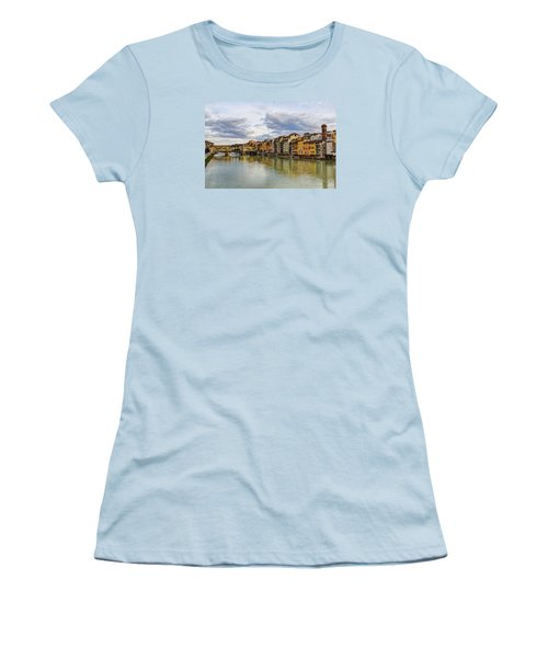 Women's T-Shirt (Junior Cut) featuring the photograph The Ponte Vecchio And Florence by Wade Brooks