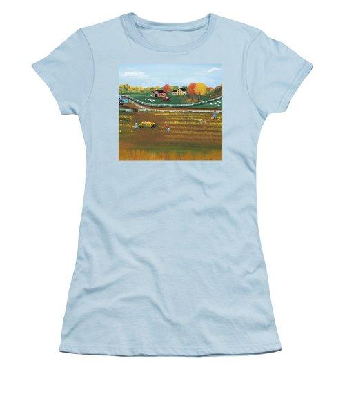 The Pumpkin Patch Women's T-Shirt (Junior Cut) by Virginia Coyle