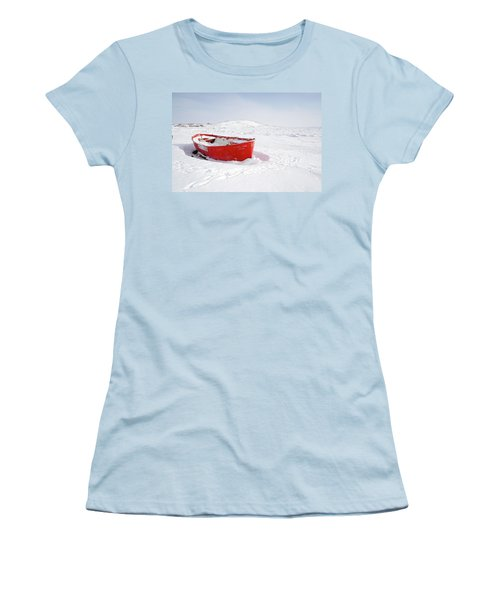 The Red Fishing Boat Women's T-Shirt (Junior Cut) by Nick Mares