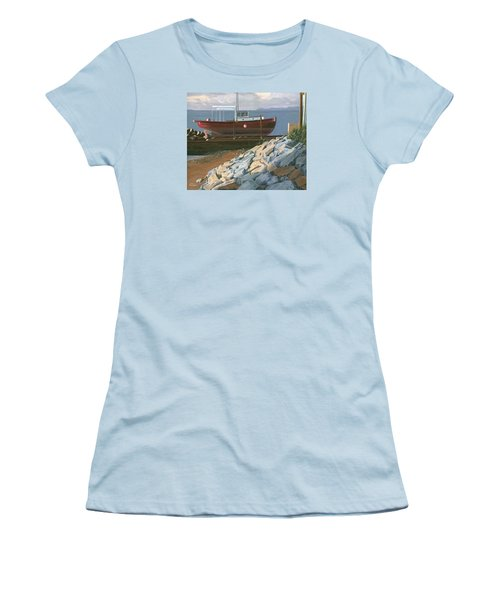 Women's T-Shirt (Junior Cut) featuring the painting The Red Troller Revisited by Gary Giacomelli