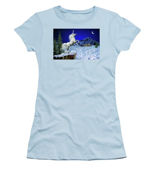 Women's T-Shirt (Junior Cut) featuring the digital art The Ultimate Return Of Unicorn  by William Lee