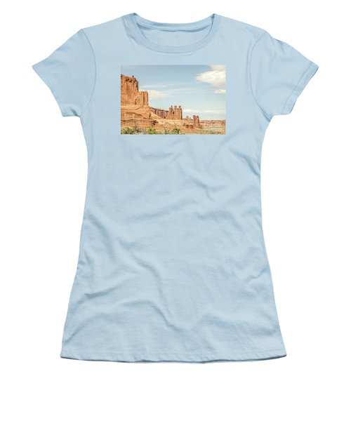 Women's T-Shirt (Athletic Fit) featuring the photograph Three Gossips And Sheep Rock by Sue Smith