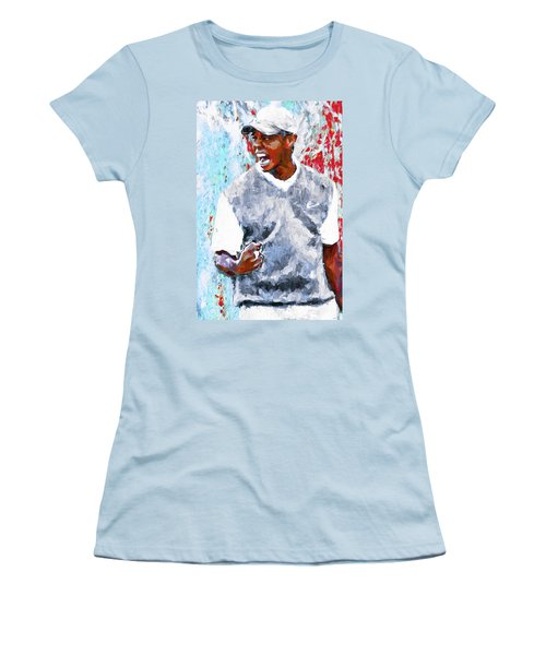 Tiger Woods One Two Red Painting Digital Women's T-Shirt (Athletic Fit)