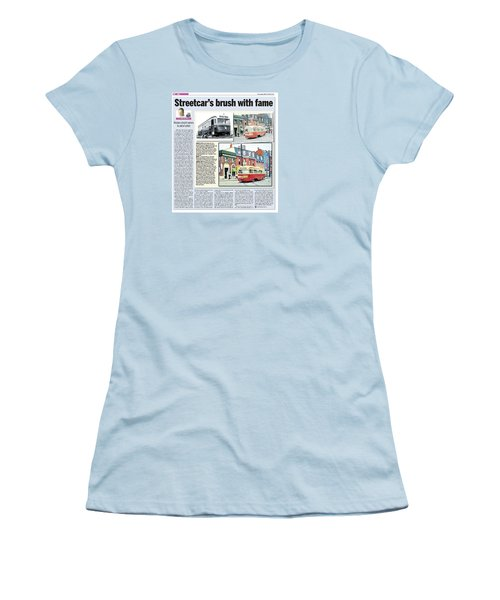 Women's T-Shirt (Junior Cut) featuring the painting Toronto Sun Article Streetcars Brush With Fame by Kenneth M Kirsch