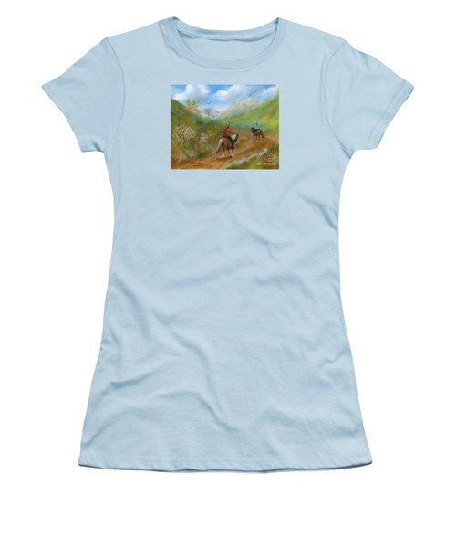 Women's T-Shirt (Junior Cut) featuring the painting Trail Ride In Sabino Canyon by Judy Filarecki