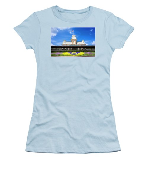 Women's T-Shirt (Junior Cut) featuring the photograph Train Station by Greg Fortier