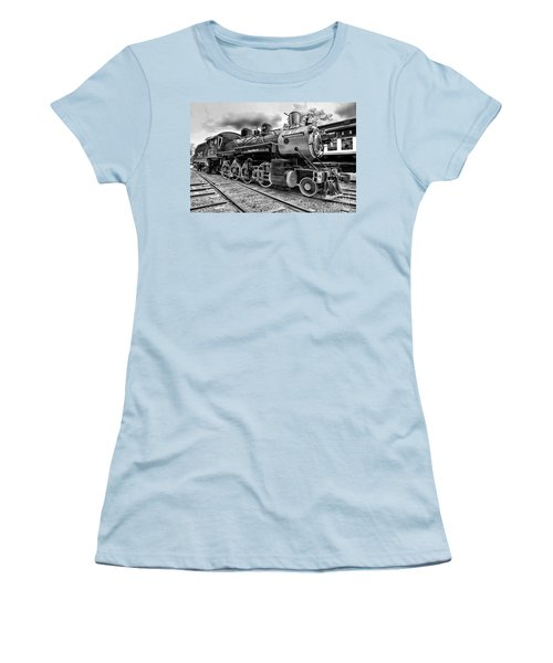 Train - Steam Engine Locomotive 385 In Black And White Women's T-Shirt (Junior Cut) by Paul Ward
