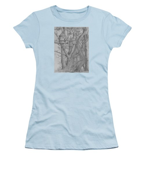 Women's T-Shirt (Junior Cut) featuring the drawing Tree House #3 by Jim Hubbard