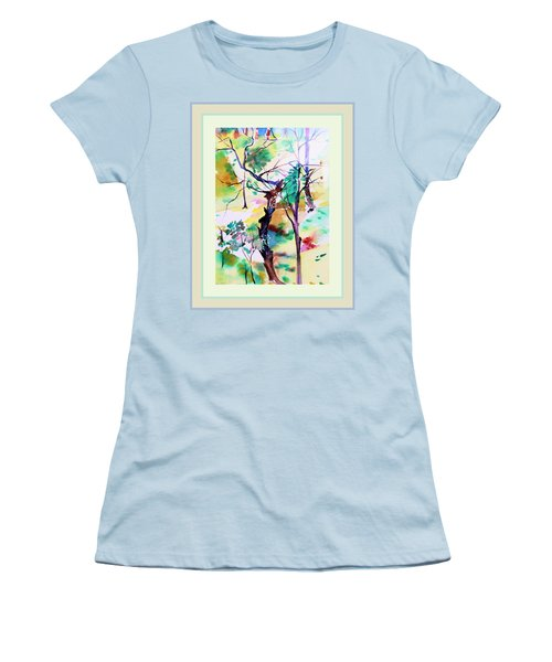 Women's T-Shirt (Junior Cut) featuring the painting Tree Lovers by Mindy Newman