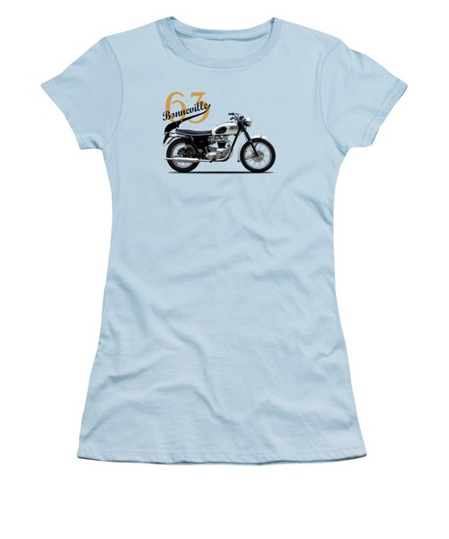 Triumph Bonneville 1963 Women's T-Shirt (Junior Cut) by Mark Rogan