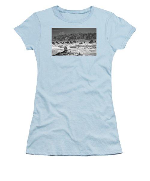 Trona Pinnacles With The Moon Women's T-Shirt (Junior Cut) by Marius Sipa