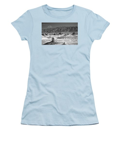 Trona Pinnacles With The Moon Women's T-Shirt (Athletic Fit)