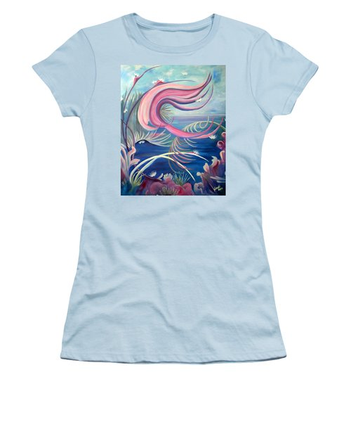 Women's T-Shirt (Junior Cut) featuring the painting Tropical Dancer by Renate Nadi Wesley