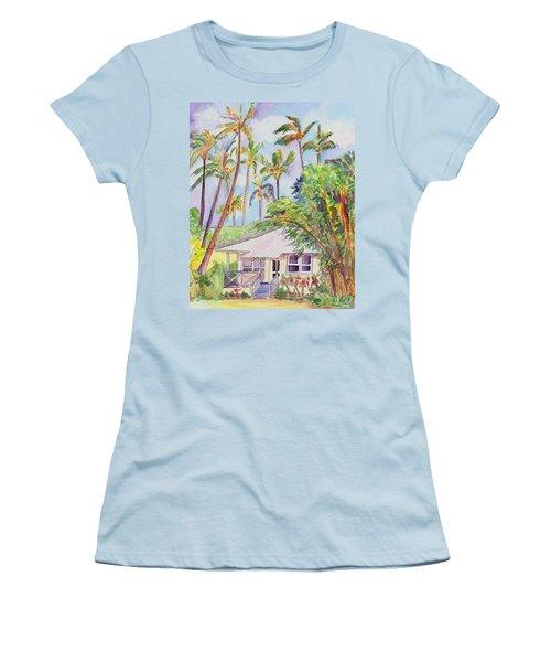 Tropical Waimea Cottage Women's T-Shirt (Junior Cut) by Marionette Taboniar