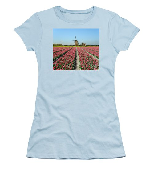 Tulips And Windmills In Holland Women's T-Shirt (Athletic Fit)